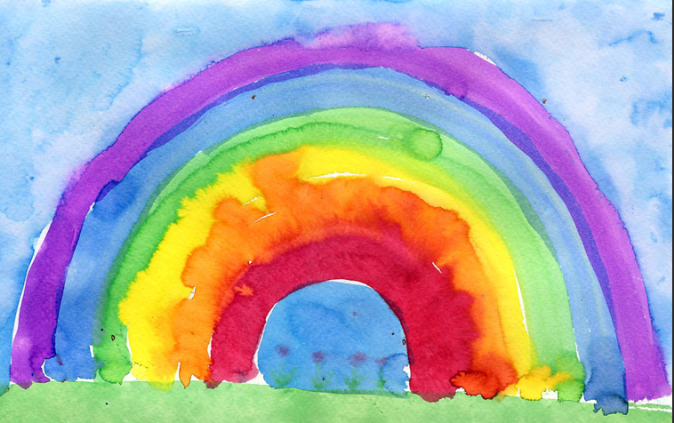 Child's painting of a rainbow