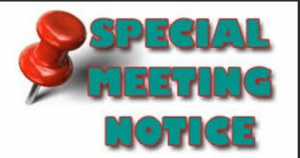 Image reading 'special meeting notice'